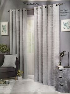 """'Balmoral' Fully Lined Faux Wool Eyelet Curtains - Silver (90"""" x 90"""")"""
