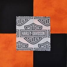"30 6"" HARLEY DAVIDSON Shield Logo, Orange Tonal & Black Quilt Sew Fabric Squares"