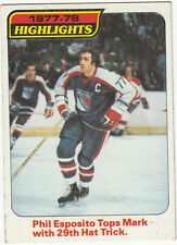 1978-79 TOPPS HOCKEY CARD #2 PHIL ESPOSITO HIGHLIGHTS 29th HAT TRICK - EXNM