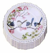 Fine Bone China Blue Wren 6 Dessert ..Lunch Plate Set  Australian Bird Series