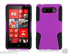 Nokia Lumia 820 Mesh Hybrid Hard Case Skin Cover Accessory Purple/Black