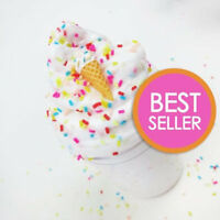 Ice Cream Birthday Cake w/ Sprinkles & Charm - Scented Butter Slime (Daiso)