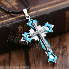 Crystal Cross Pendant Necklace Chain Unisex's Men Blue Silver Stainless Steel