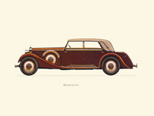 Canvas Print Vintage Car Poster Illustration - MAYBACH 1936
