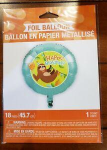"Sloth Party Happy Birthday Foil Balloon 18"" Sloth Birthday Supplies Decorations"