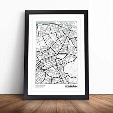 More details for map edinburgh uk wall art framed print picture