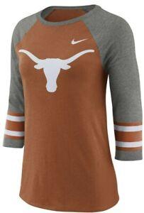 New with tags Women's Texas Longhorns Authentic Nike Raglan Stripe Tee Shirt NWT