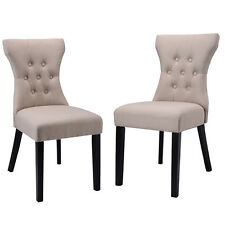 Set of 2 Dining Chair Modern Armless Tufted Design Living Room Furniture Beige