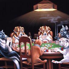 Dogs Playing Poker Smoking Art Coolidge Black Velvet Oil Painting J375h