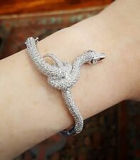 Diamond Pave Snake Bangle Bracelet 4.50 cttw in White Gold - HM1836