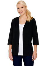 Denim & Co. Essentials Knit 3/4 Sleeve Open Front Jacket, Black, S
