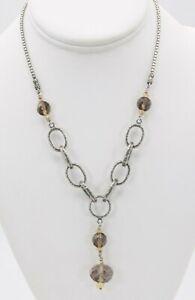 "VINTAGE Silpada Smoky Quartz & Citrine Solid Sterling Silver 925 Necklace 17"""