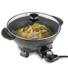 VonShef Electric Wok Multi Cooker Skillet Frying Pan Fry Non Stick Glass Lid 5L