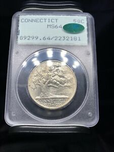1935 Connecticut Commemorative Half Dollar PCGS MS64 CAC Old Rattler