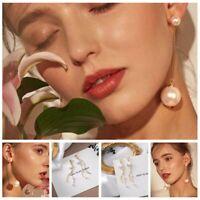Ear Personality Stud Fashion Drop Jewelry Big Pearl Long Chain Earrings Women