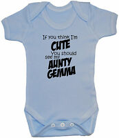 Cute Personalised Aunty With Name Baby Grow Bodysuit T-Shirt Romper NB-24mths