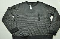 Men's APT. 9 sweater size medium gray stripe wool blend pullover v-neck long sle