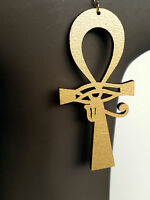 Ankh eye of horus earrings natural wood gold painted large sizes