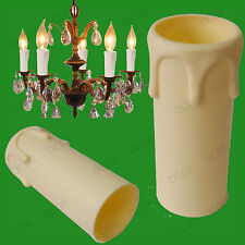 2x Ivory Drip Candle Wax Effect Chandelier Light Bulb Cover Sleeve 55mm x 27mm