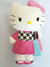 """Hello Kitty 9"""" Tall Ceramic Coin Bank Pink Dress Shopping Bags"""