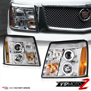 Euro Chrome Halo LED DRL HID Projector Headlight For 2003-2006 CADILLAC ESCALADE