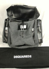 100% Authentic DSQUARED2 Leather Backpack Rucksack Book Bag Black and Gray NEW