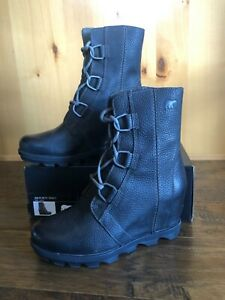 Sorel JOAN Of ARTIC BLACK WEDGE BOOTS 8 QUARRY CHELSEA NEW Ankle Waterproof