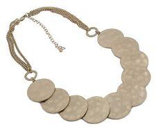 Zest Martillado solapadas óvalos Multi Cadena Collar De Oro