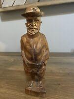 Vintage Hand Carved Wooden Sculpture Figurine Old Man Folk Art Belt Beard Hat