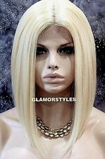 Human Hair Blend Hand Tied Monofilament Lace Front Bob Bleach Blonde Hair Piece