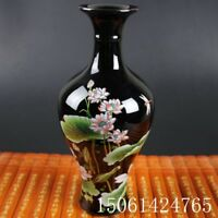 "Chinese old black porcelain ornaments ""Lotus necked "" vase"