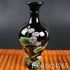 "Chinese old black porcelain ornaments ""Lotus necked "" vase"