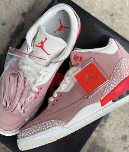 Air Jordan III 3 Retro Rust Pink 10.5 W / 9 M Crimson Sneakers CK9246 600 NEW DS