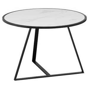 Table Side table Solid Marble Coffee Table With Contemporary Steel Grey Frame