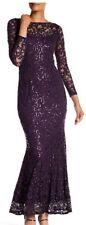 NEW Marina Long Sleeve Lace Gown dress Eggplant Size 8 Reg $169