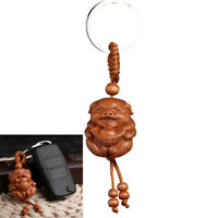 Pig of Year Carving Wooden Pendant Keychain Key Ring Chain Jewelry Gifts LuckyXS