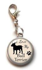 Clip On Charm I Love My Bull Terrier Dog Dangle Charm Lobster Clasp Handmade Usa
