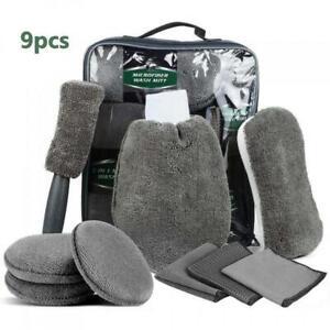 9pc Premium Microfiber Car Cleaning Kit Brush Sponge Polish Cloth