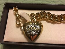 Juicy Couture Gold Crown Locket heart charm bracelet VGC