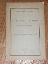 1860 Antique Medical Pamphlet Annual Report of St. Luke's Hospital New York