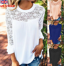 Women 3/4 Ruffle Sleeve T Shirt Collarless Lace Chiffon Top Ladies Casual Blouse