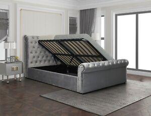 New Stunning Kingston Grey Velvet Fabric Storage Bed in 4FT6 5FT NEXT DAY