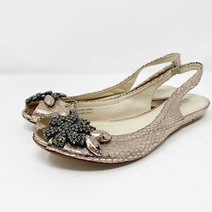 Vera Wang Lavender Pink Metallic Slingback Sandals US 8.5 Embellished Crystals