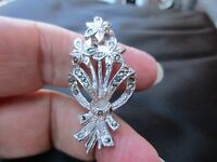 VINTAGE EDWARDIAN STYLE SILVER PLATED MARCASITE FLOWER RIBBON SWAG BROOCH PIN