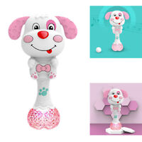 Baby Rattle Teether with Music & Light Grasp Spin Rattle  pink