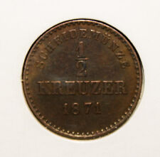 Germany - Wurttemberg 1/2 Kreuzer 1871 Uncirculated Copper Coin *** Scarcer