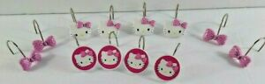 Hello Kitty Shower Curtain Hooks 12 Pc Sanrio Bows Pink White 2015