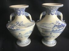 Pr Antique Delftware ? Chinese or Japanese Style Vases Chinoiserie Blue White