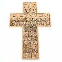 Lords Prayer Wooden Cross Christian Symbol Crucifix Wall Art Religious Gift