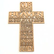 More details for lords prayer wooden cross christian symbol crucifix wall art religious gift